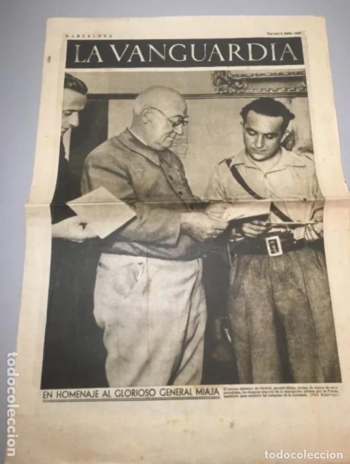 PORTADA DIARIO LA VANGUARDIA BARCELONA, MARTES 6 JULIO 1937, EN HOMENAJE AL GLORIOSO GENERAL MIAJA (Coleccionismo - Revistas y Periódicos Antiguos (hasta 1.939))