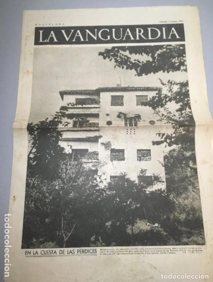 PORTADA - DIARIO LA VANGUARDIA BARCELONA, SÁBADO 12 JUNIO 1937, EN LA CUESTA DE LAS PERDICES (Coleccionismo - Revistas y Periódicos Antiguos (hasta 1.939))