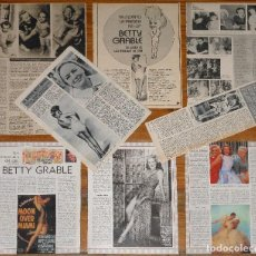 Coleccionismo de Revistas y Periódicos: BETTY GRABLE LOTE PRENSA SPAIN CLIPPINGS 1950S/1980S MAGAZINE ARTICLES PINUP SEXY PHOTOS. Lote 205609821