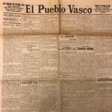 Coleccionismo de Revistas y Periódicos: EL PUEBLO VASCO (DIARIO INDEPENDIENTE), SAN SEBASTIÁN 19 DE ABRIL DE 1910. ANTIGUO PERIÓDICO VASCO. Lote 205782293