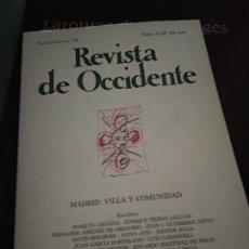 Coleccionismo de Revistas y Periódicos: REVISTA DE OCCIDENTE Nº 27 Y 28 EXTRAORDINARIO VII MADRID: VILLA Y COMUNIDAD 1984. Lote 205852642