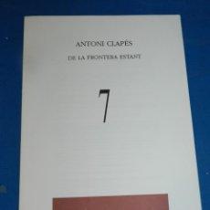 Coleccionismo de Revistas y Periódicos: (M) REVISTA VÈRTEX N.7 ANTONI CLAPÉS DE LA FRONTERA ESTANT , EDICIÓ DE 191 EXEMPLARS. Lote 205902486