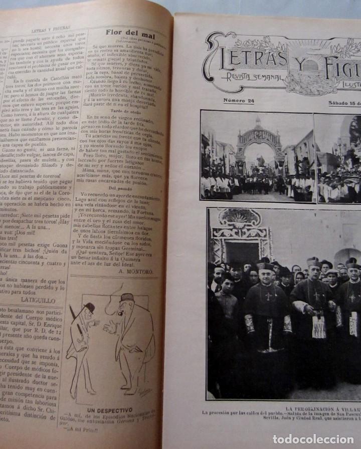 Coleccionismo de Revistas y Periódicos: Letras y Figuras nº 24 15 Julio 1911 Feria Valencia Peregrinación Villarreal Raid Alicante Alcazar - Foto 2 - 206213560