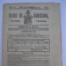 Coleccionismo de Revistas y Periódicos: DIARIO DE BARCELONA - Nº 510 - JUEVES, 6 DE NOVIEMBRE DE 1879.. Lote 206363175