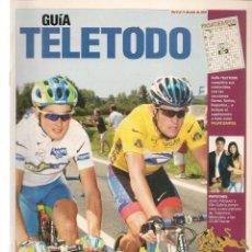 Coleccionismo de Revistas y Periódicos: GUÍA TELETODO. TOUR DE FRANCIA/ SAN FERMINES / RAPHAEL/CARMEN SEVILLA/ANA OBREGON. 8/7/2002(ST/P). Lote 206391502