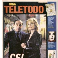 Coleccionismo de Revistas y Periódicos: GUÍA TELETODO. CSI / JULIO IGLESIAS/NORMA DUVAL/19/7/2002(ST/P). Lote 206394096