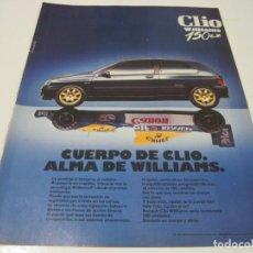 Coleccionismo de Revistas y Periódicos: RENAULT CLIO WILLIAMS. ANUNCIO PUBLICIDAD 1993. Lote 206405035