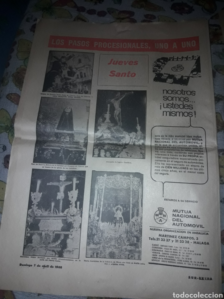 Coleccionismo de Revistas y Periódicos: Diario Sur del Domingo 7 de Abril de 1968 completo y con suplemento de Semana Santa. - Foto 6 - 206582235