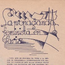 Collectionnisme de Revues et Journaux: * PARÍS * FEMINISMO * PROPAGANDA FEMINISTA SOLICITANDO EL VOTO - 1934. Lote 206821658