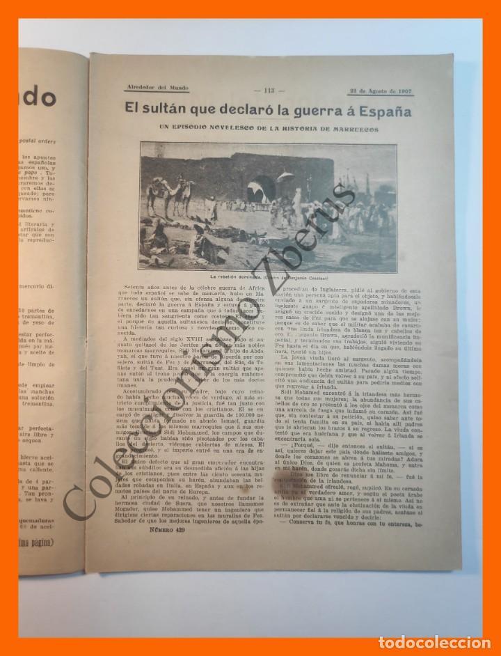 Coleccionismo de Revistas y Periódicos: Alrededor del Mundo nº429 21 Agosto 1907 Deportes en sellos; Construcción de un metro; Comida china - Foto 2 - 206970102