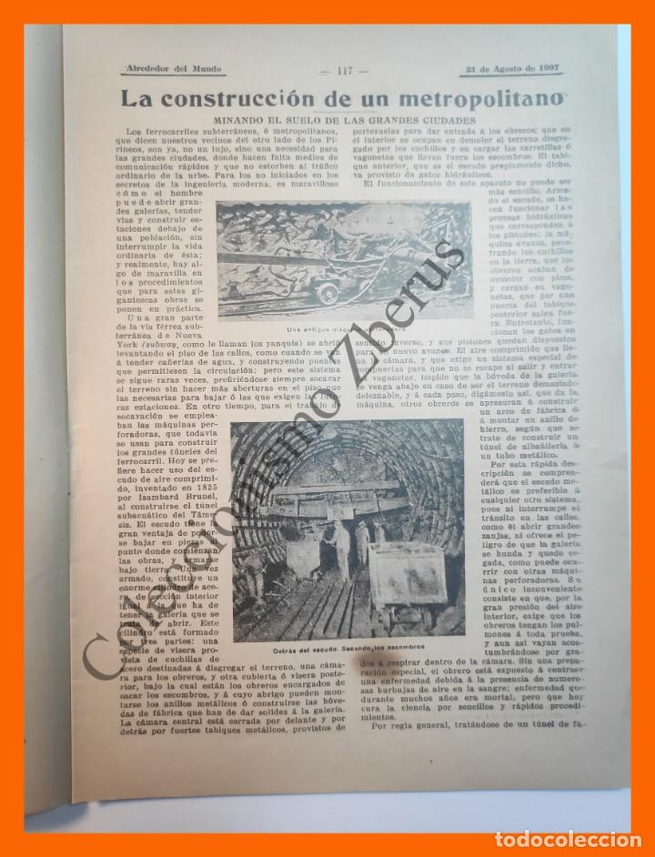 Coleccionismo de Revistas y Periódicos: Alrededor del Mundo nº429 21 Agosto 1907 Deportes en sellos; Construcción de un metro; Comida china - Foto 3 - 206970102
