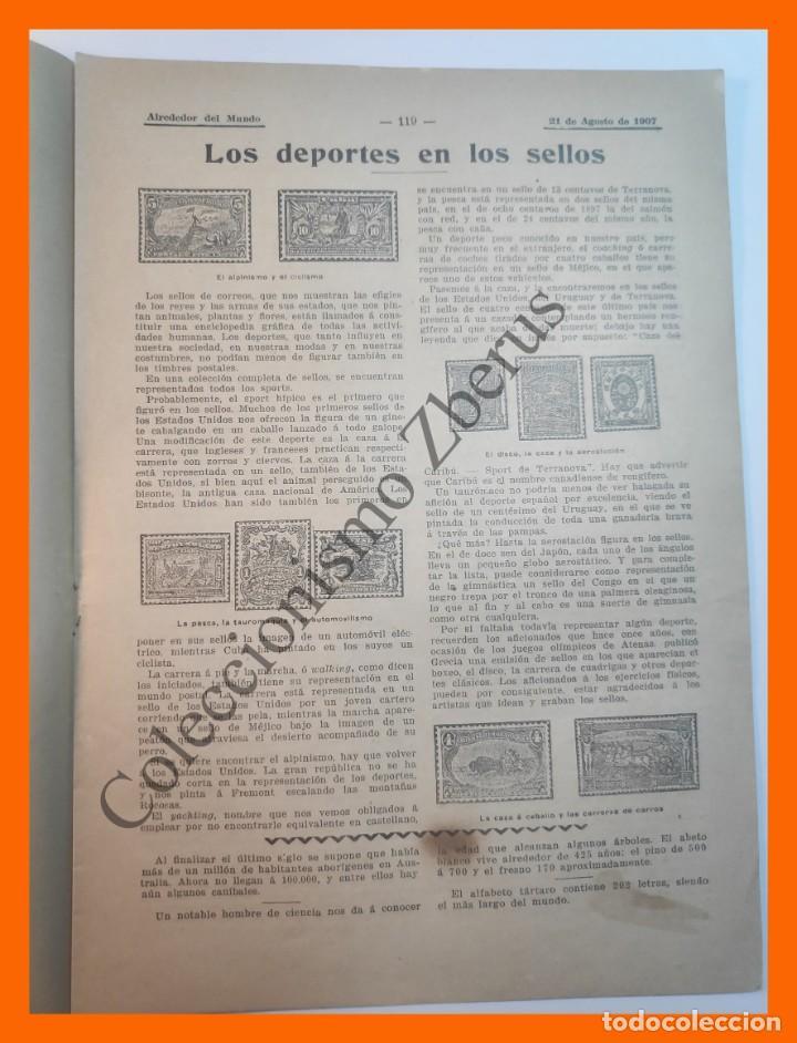 Coleccionismo de Revistas y Periódicos: Alrededor del Mundo nº429 21 Agosto 1907 Deportes en sellos; Construcción de un metro; Comida china - Foto 4 - 206970102