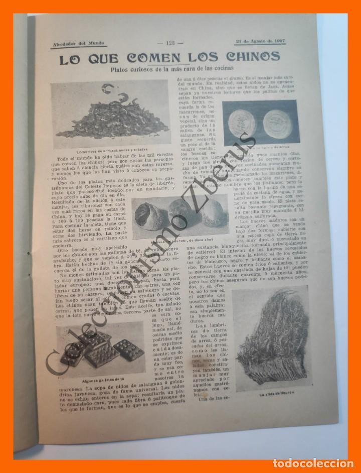 Coleccionismo de Revistas y Periódicos: Alrededor del Mundo nº429 21 Agosto 1907 Deportes en sellos; Construcción de un metro; Comida china - Foto 5 - 206970102