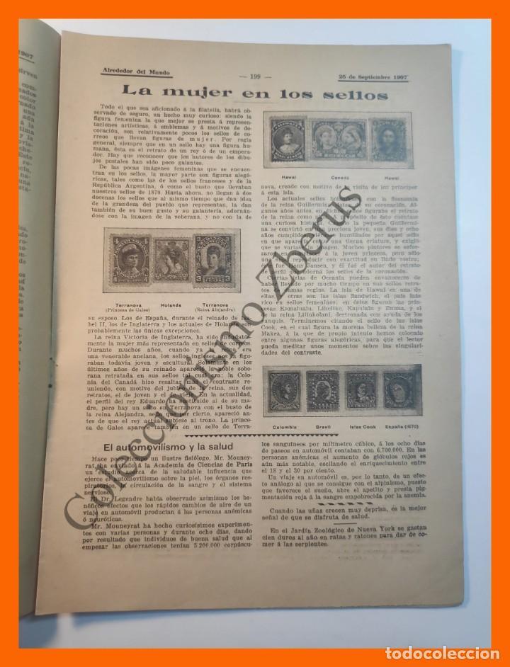 Coleccionismo de Revistas y Periódicos: Alrededor del Mundo nº434 25 Sept 1907 Caida de Babilonia; La Mujer en los Sellos; Dolor en el Arte - Foto 3 - 206972516