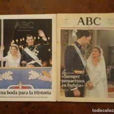 Coleccionismo de Revistas y Periódicos: PERIODICO Y SUPLEMENTO ABC. UNA BODA PARA LA HISTORIA. DOMINGO 23 DE MAYO DE 2004. Lote 206980686