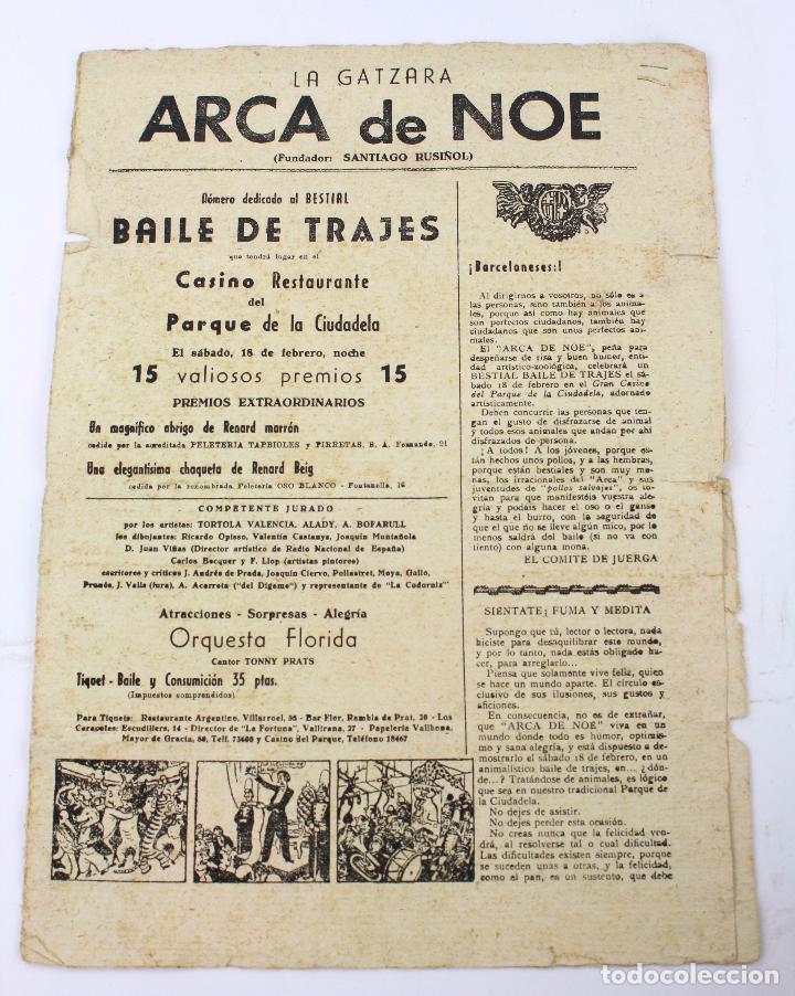 LA GATZARA, ARCA DE NOE, SANTIAGO RUSIÑOL, REVISTA DE 4 PÁGINAS SIN FECHAR. 36X26CM (Coleccionismo - Revistas y Periódicos Antiguos (hasta 1.939))