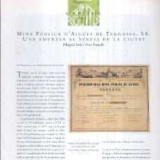 Coleccionismo de Revistas y Periódicos: MINA PUBLICA D,AIGUES DE TERRASSA S.A.. Lote 207344980