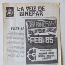 Colecionismo de Revistas e Jornais: LA VOZ DE BINEFAR MAYO 1985 FERIA SAN ISIDRO. Lote 210198618
