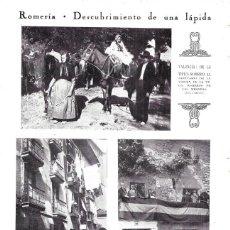 Coleccionismo de Revistas y Periódicos: 1930 HOJA REVISTA VALENCIA ROMERÍA AL SANTUARIO DE LA VIRGEN DE LA VEGA ROMEROS DE LAS MESADAS. Lote 210409358