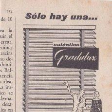 Coleccionismo de Revistas y Periódicos: PUBLICIDAD T 1960. ANUNCIO GRADULUX. Lote 210938291