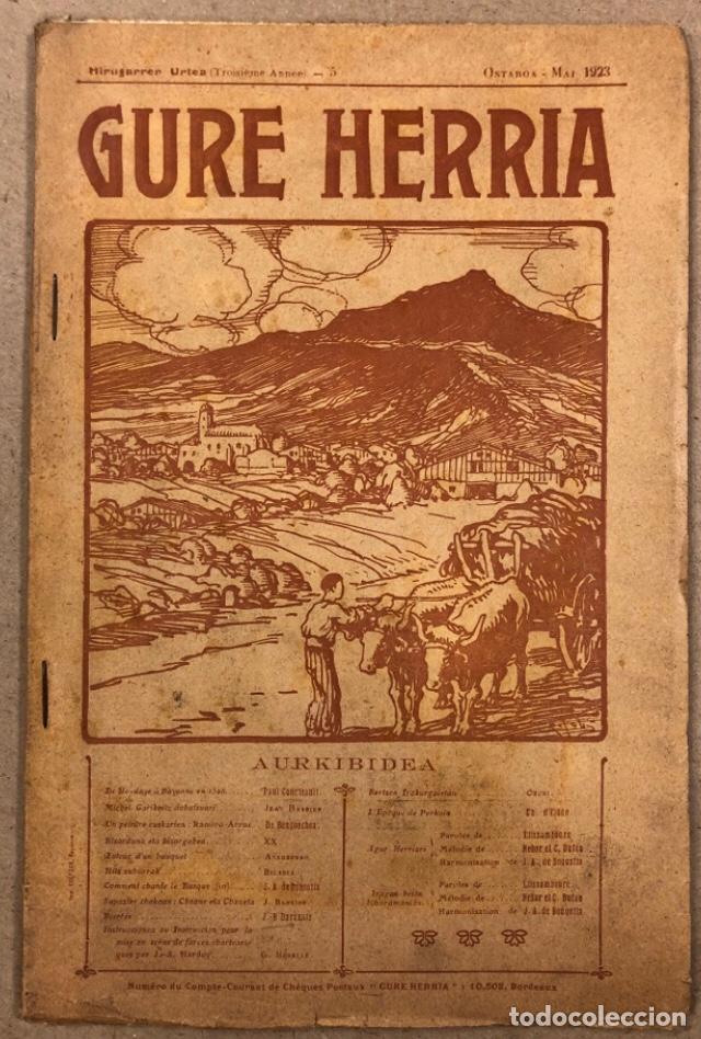 GURE HERRIA (HIRUGARREN URTEA) N° 5 (1923). ANTIGUA REVISTA VASCA. (Coleccionismo - Revistas y Periódicos Antiguos (hasta 1.939))