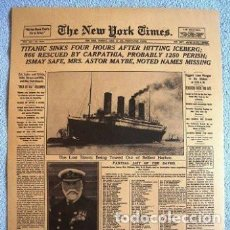 Coleccionismo de Revistas y Periódicos: CARTEL POSTER PORTADA PERIODICO NEW YORK TIMES 16-04-1912 HUNDIMIENTO DEL TITANIC. Lote 211487046