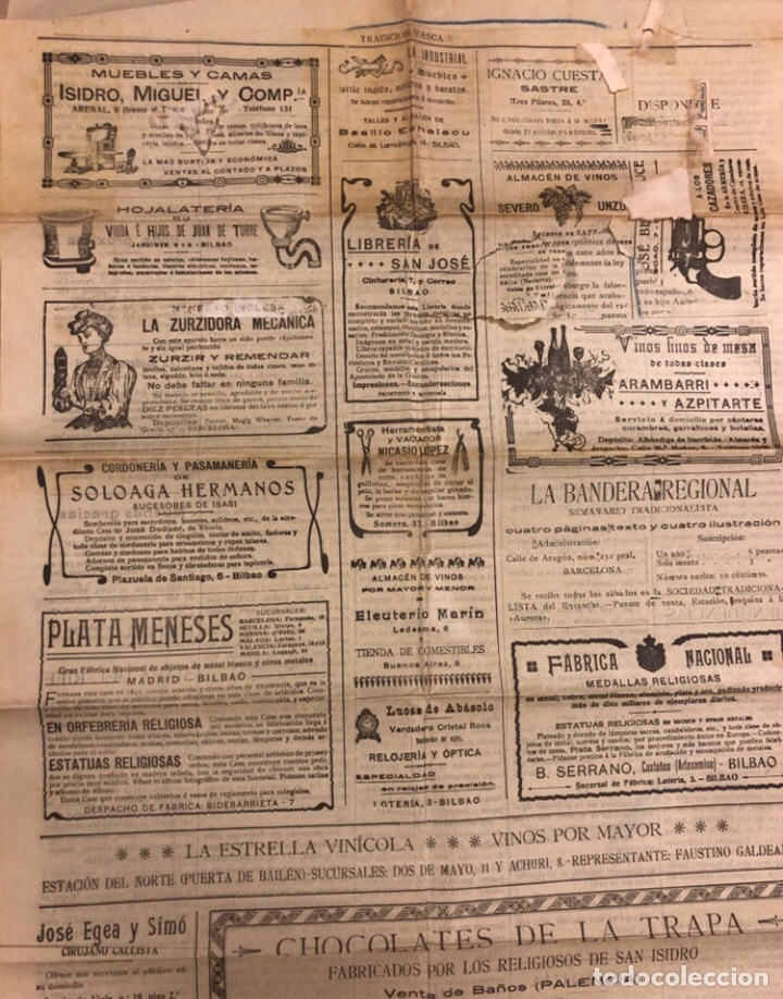 Coleccionismo de Revistas y Periódicos: TRADICIÓN VASCA (SEMANARIO TRADICIONALISTA), BILBAO 18 SEPTIEMBRE DE 1909. - Foto 3 - 211833526