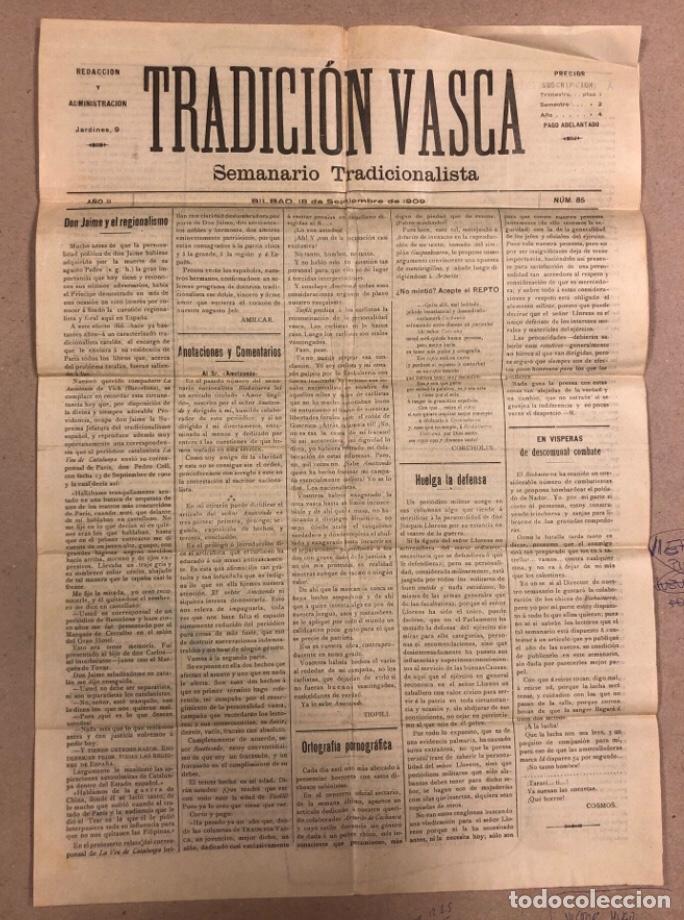 TRADICIÓN VASCA (SEMANARIO TRADICIONALISTA), BILBAO 18 SEPTIEMBRE DE 1909. (Coleccionismo - Revistas y Periódicos Antiguos (hasta 1.939))