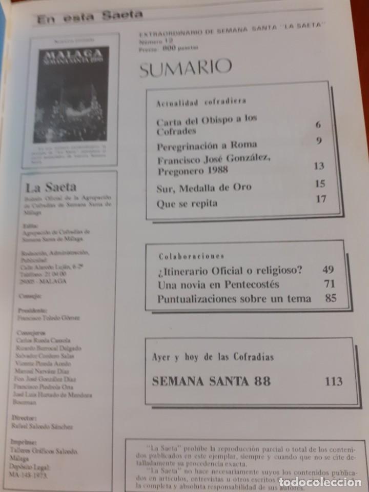 Coleccionismo de Revistas y Periódicos: Revista La Saeta Semana Santa 1988 - Foto 2 - 211838037