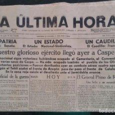 Coleccionismo de Revistas y Periódicos: PERIÓDICO LA ÚLTIMA HORA - 16 MARZO 1938~II AÑO TRIUNFAL - MALLORCA CASPE CATALUÑA - 4 HOJAS - PJRB. Lote 213869008