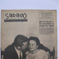 Coleccionismo de Revistas y Periódicos: SÁBADO GRÁFICO - AÑO III - Nº 111 - UNA CATALANA Y UN ISLANDÉS SE CASAN - NOVIEMBRE DE 1958.. Lote 214010267