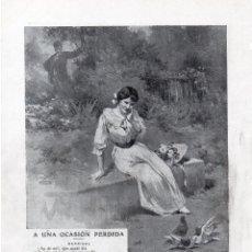 Coleccionismo de Revistas y Periódicos: JORGE Y JOSE DE LA CUEVA 1914 A UNA OCASIÓN PERDIDA HOJA REVISTA. Lote 214359907