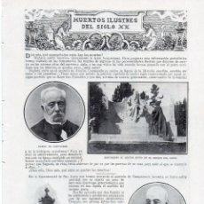 Coleccionismo de Revistas y Periódicos: MUERTOS ILUSTRES DEL SIGLO XX 1914 2 HOJAS REVISTA. Lote 214360030