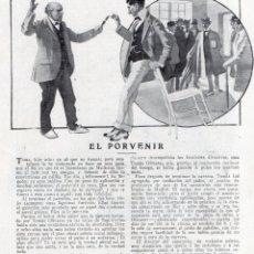 Coleccionismo de Revistas y Periódicos: J.BELDA 1914 EL PORVENIR CON ILUSTRACIONES DE HUERTAS HOJA REVISTA. Lote 214360482