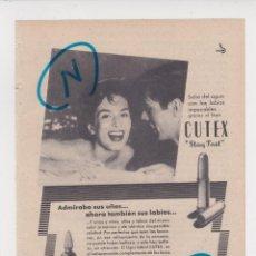 Coleccionismo de Revistas y Periódicos: PUBLICIDAD T 1958. ANUNCIO CUTEX. LAPIZ DE LABIOS Y LACA DE UÑAS. Lote 214439090