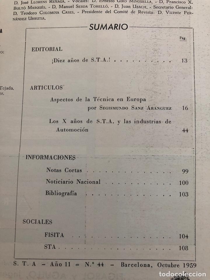 Coleccionismo de Revistas y Periódicos: Revista STA Año 11 Num. 44, Octubre 1959 - Foto 3 - 215015605