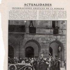 Coleccionismo de Revistas y Periódicos: GIJON 1914 VIAJE DEL REY ALFONSO XIII HOJA REVISTA. Lote 215357872