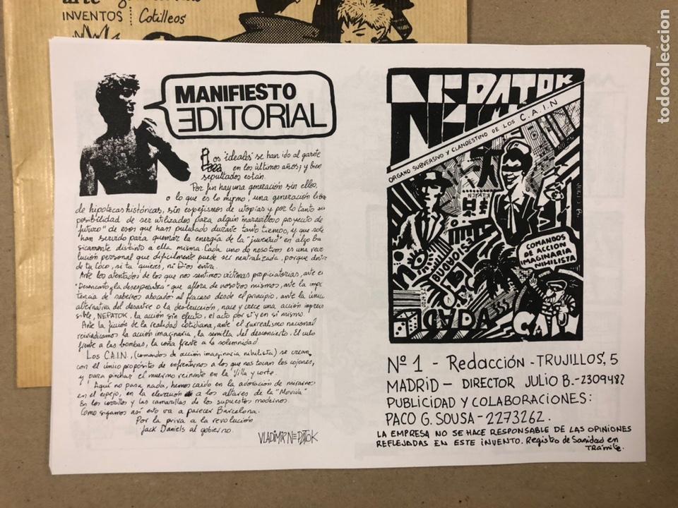 Coleccionismo de Revistas y Periódicos: NEPATOK N° (MADRID 1984). HISTÓRICO FANZINE ORIGINAL MOVIDA MADRILEÑA; ÓRGANO CLANDESTINO C.A.I.N. - Foto 2 - 216621622