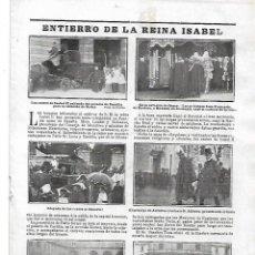 Coleccionismo de Revistas y Periódicos: AÑO 1904 MADRID ENTIERRO REINA ISABEL II TIENDAS COMERCIOS MADRID LA PAJARITA LA VILLA DE MADRID. Lote 217472955