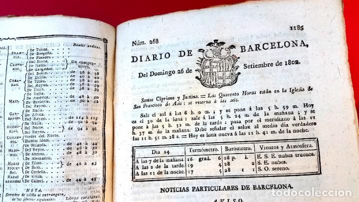 Coleccionismo de Revistas y Periódicos: DIARIO DE BARCELONA - 1802 - DEL Nº 243 AL 364 - 121 números - Foto 2 - 217550892