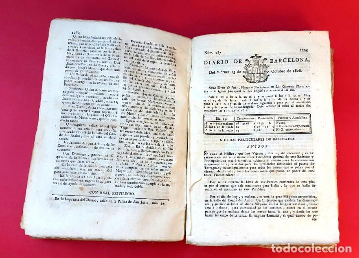 Coleccionismo de Revistas y Periódicos: DIARIO DE BARCELONA - 1802 - DEL Nº 243 AL 364 - 121 números - Foto 6 - 217550892