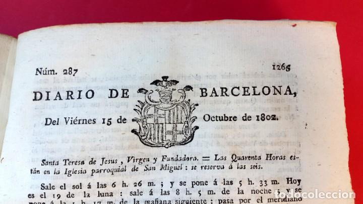Coleccionismo de Revistas y Periódicos: DIARIO DE BARCELONA - 1802 - DEL Nº 243 AL 364 - 121 números - Foto 7 - 217550892
