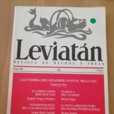 Coleccionismo de Revistas y Periódicos: LEVIATÁN. REVISTA DE HECHOS E IDEAS Nº 84 (VERANO 2001) AMARTYA SEN / RAMÓN VARGAS MACHUCA Y OTROS. Lote 217903310