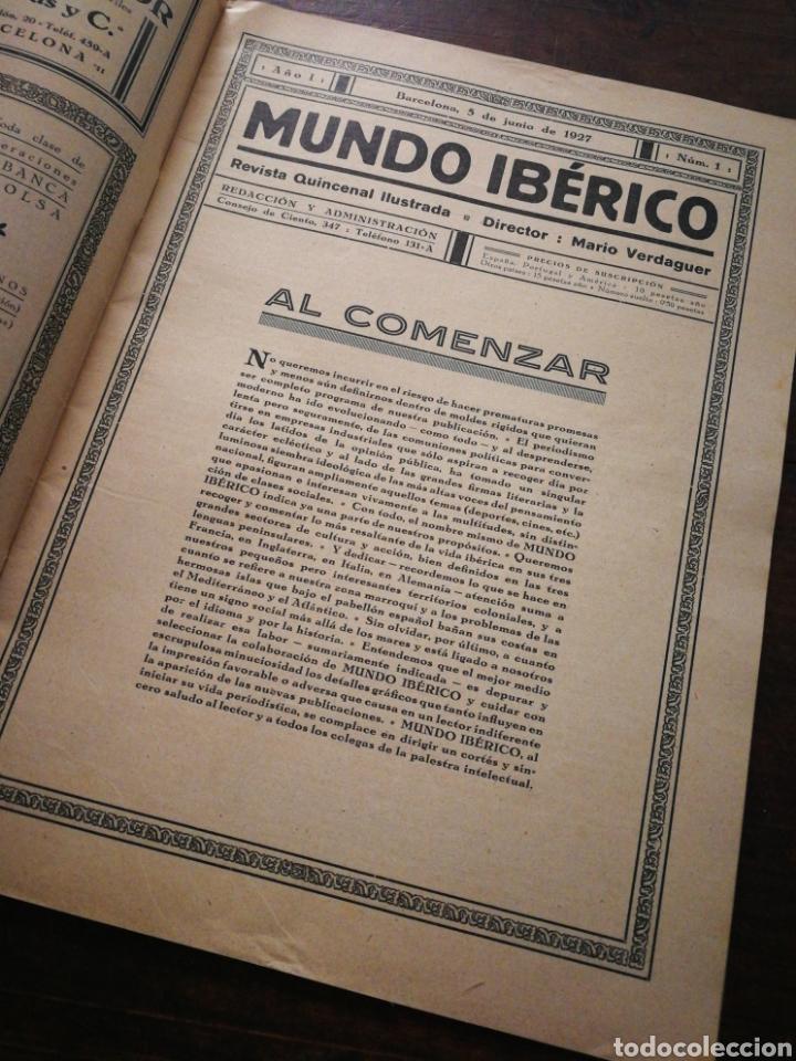 Coleccionismo de Revistas y Periódicos: MUNDO IBÉRICO- REVISTA QUINCENAL ILUSTRADA (MARIO VERDAGUER), AÑO I, N°1,1927. DIFÍCIL!!!. - Foto 3 - 217922302