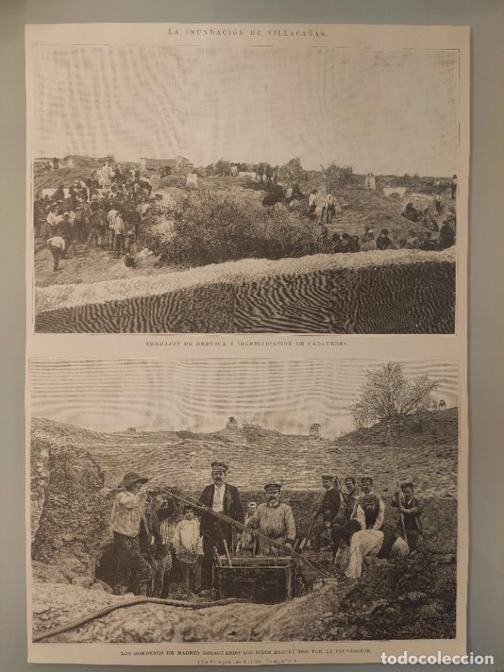 GRABADO REVISTA ORIGINAL CIRCA 1890. INUNDACIÓN DE VILLACAÑAS, BOMBERO DE MADRID (Coleccionismo - Revistas y Periódicos Antiguos (hasta 1.939))