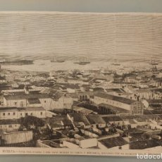 Collectionnisme de Revues et Journaux: GRABADO REVISTA ORIGINAL CIRCA 1890. VISTA PUERTO Y MUELLE DE HUELVA. Lote 218405717
