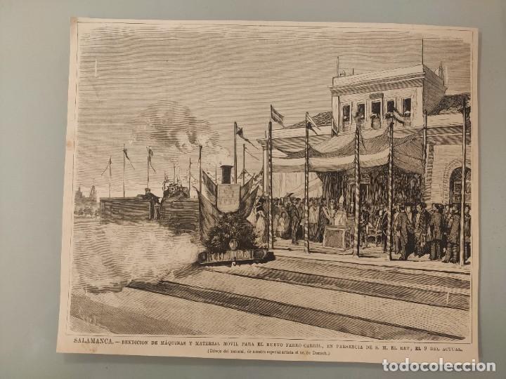 GRABADO REVISTA ORIGINAL CIRCA 1890. ESTACION FERROCARRIL SALAMANCA, BENDICIÓN (Coleccionismo - Revistas y Periódicos Antiguos (hasta 1.939))
