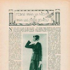 Coleccionismo de Revistas y Periódicos: * MODA FEMENINA *MODAS PARA LA NIEVE Y LAS PISTAS DE HIELO/ ADA LYNCON - 1934. Lote 218491488