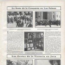 Coleccionismo de Revistas y Periódicos: 1907 HOJA REVISTA CANARIAS LAS PALMAS FIESTA DE LA CONQUISTA DESFILE ARTILLERÍA EXPOSICIÓN PINTURA. Lote 218491982