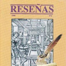 Coleccionismo de Revistas y Periódicos: RESEÑAS Nº 4 1998, CATALOGO BIBLIOGRAFICO DE LA BIBLIOTECA NACIONAL. Lote 218705920